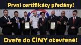 Dveře do Číny otevřené! První certifikáty předány! (www.airzone.tv)