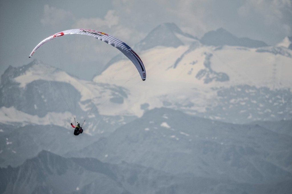 Manuel Nuebel (GER2) flies during the Red Bull X-Alps at the Karwendel massiv, Austria on July 6, 2017.