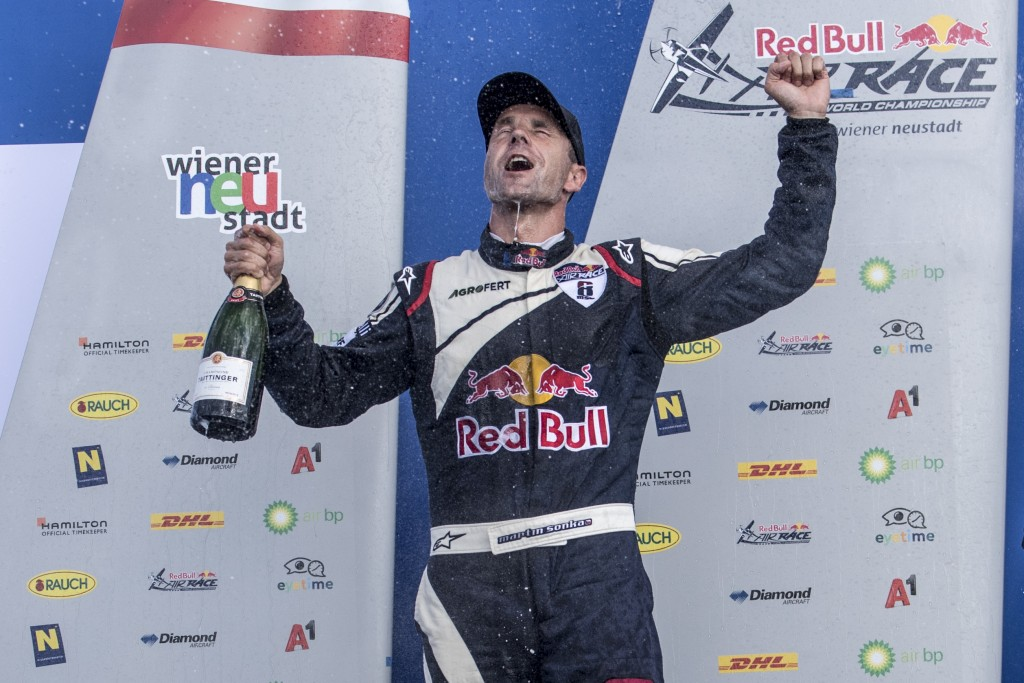 Martin Sonka of the Czech Republic celebrates during the Award Ceremony at the sixth round of the Red Bull Air Race World Championship in Wiener Neustadt, Austria on September 16, 2018.