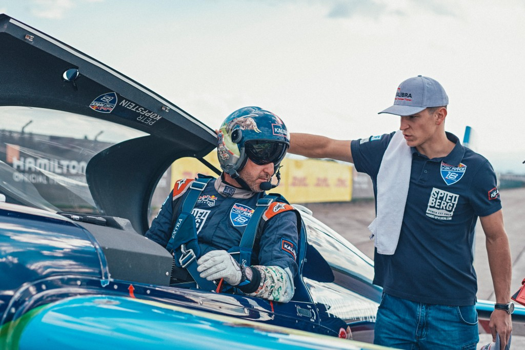 Petr Kopfstein of the Czech Republic prepares for his flight during qualifying day at the sixth round of the Red Bull Air Race World Championship in Wiener Neustadt, Austria on September 15, 2018. // Balazs Gardi/Red Bull Content Pool // AP-1WWMDTRWS2111 // Usage for editorial use only // Please go to www.redbullcontentpool.com for further information. //