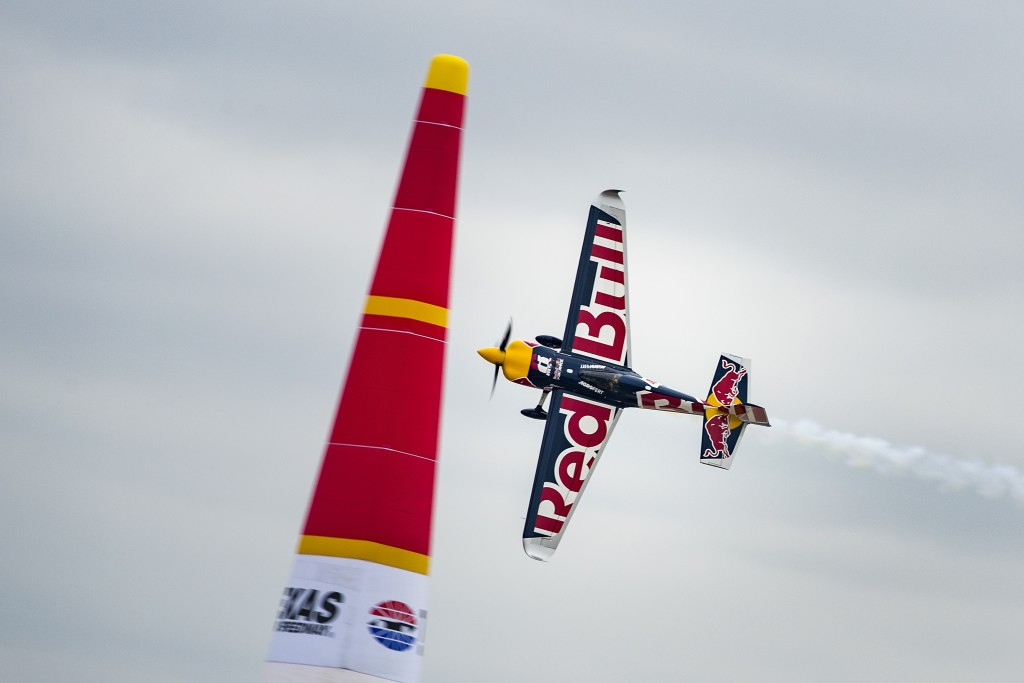 Martin Sonka of the Czech Republic performs during the finals at the eighth round of the Red Bull Air Race World Championship at Texas Motor Speedway, Fort Worth, Texas, United States on November 18, 2018.