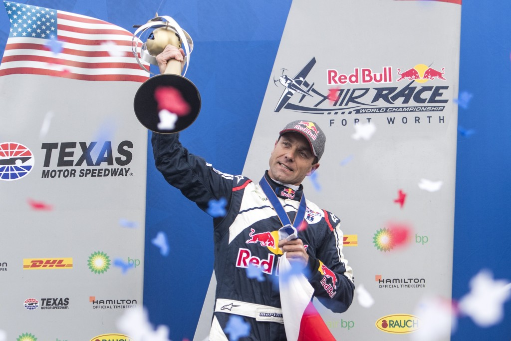 Martin Sonka of the Czech Republic celebrates during the World Championship Award Ceremony at the eighth round of the Red Bull Air Race World Championship at the eighth round of the Red Bull Air Race World Championship at Texas Motor Speedway, Fort Worth, Texas, United States on November 18, 2018.