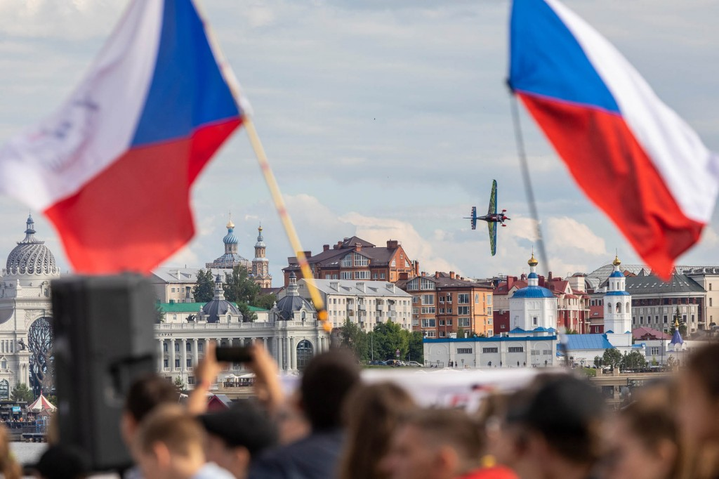 Petr Kopfstein of the Czech Republic performs during qualifying day at the second round of the Red Bull Air Race World Championship at Kazan, Russia on June 15, 2019. // Dmitriy Tibekin / Red Bull Content Pool // AP-1ZNPGSPRH2111 // Usage for editorial use only // Please go to www.redbullcontentpool.com for further information. //